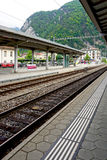 Track of train railway station Interlaken. Switzerland stock image
