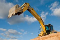 Track-type loader excavator at sand Royalty Free Stock Photography