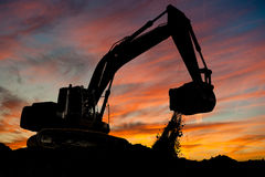Track-type loader excavator at work Royalty Free Stock Images