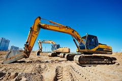 Track-type loader excavators at work Royalty Free Stock Photos