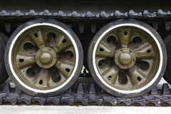 Track and wheels of the  tank Royalty Free Stock Images