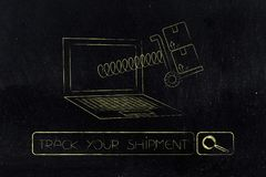 Parcel coming out of laptop screen on a spring. Track your shipment concept: parcel coming out of laptop screen on a spring Stock Photos