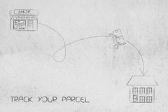 Parcel with dashed path from shop to delivery address. Track your shipment concept: parcel with dashed path from shop to delivery address Stock Photos