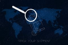 Parcel with magnifying glass analizying it over world map overla. Track your shipment concept: parcel with magnifying glass analizying it over world map overlay Royalty Free Stock Image