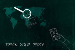 Parcel with magnifying glass over world map and hand holding sma. Track your shipment concept: parcel with magnifying glass over world map and hand holding Stock Images