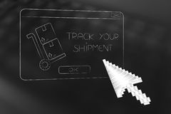 Pop-up message with parcel and text with oversize cursor clickin. Track your shipment concept: pop-up message with parcel and text with oversize cursor clicking Royalty Free Stock Photos