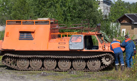 Tracked all-terrain vehicle to work on power lines Stock Photo