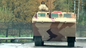 Tracked amphibious carrier PTS-4. Russia. Nizhniy Tagil, Russia - September 25. 2013: Tracked amphibious carrier PTS-4 move on the demonstration range. RAE-2013 stock footage