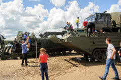 Tracked amphibious carrier PTS with viewers.Russia Stock Image