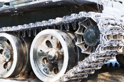 Tracked armored vehicles. An old armored tracked locally Stock Photo