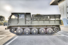 Tracked artillery tractor. Medium tracked artillery tractor, mainly for towing 15t artillery and field service implementation march, and while carrying stock images