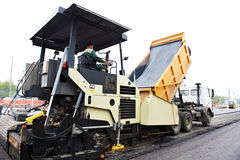 Tracked asphalt paver Stock Photo