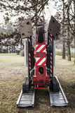 A tracked basket for gardeners. Mobile aerial work platform. An empty tracked basket for gardeners. Mobile aerial work platform Stock Photos
