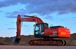 Free Tracked Excavator Hitachi ZAXIS 240LC Working At A Construction Site Stock Photo - 171571970