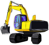 Tracked excavator, vector illustration Royalty Free Stock Images