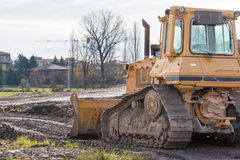 Tracked loader excavator at construction area Royalty Free Stock Photography