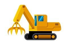 Tracked material handler minimalistic icon. Tracked material handler machine minimalistic icon isolated. Construction equipment isolated vector. Heavy equipment Stock Photography