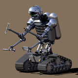Tracked Robot. Tool-wielding robot on monochrome background Royalty Free Stock Images