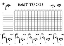 Tracker habits for the month decorated with a pattern of an abstract portrait. vector illustration