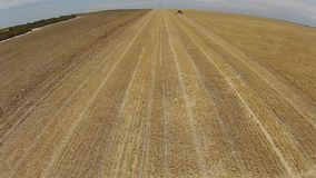 Tracking Aerial shots of harvester at work on farm stock video