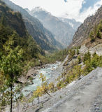 Tracking Annapurna circuit Royalty Free Stock Photos