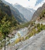 Tracking Annapurna circuit. Four seasons on one photo Royalty Free Stock Photos