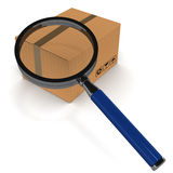 Tracking. Cargo or courier tracking concept with cardboard box under a magnifying glass, white background, 3d render Stock Photos