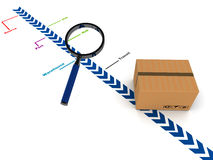 Tracking courier in transit. Cargo or courier tracking concept with cardboard box under a magnifying glass, with trail going through source, port, and hubs Royalty Free Stock Photo