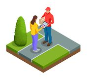 Tracking delivery by parcel, delivery service concept. Woman accepting a delivery of boxes from deliveryman. Isometric. Vector illustration vector illustration
