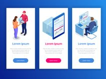 Tracking delivery by parcel, delivery service concept. Woman accepting a delivery of boxes from deliveryman. Isometric. Vector illustration royalty free illustration