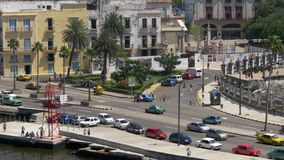 Tracking Dolly Establishing Shot of Traffic in Havana Cuba. 8920 A high angle aerial tracking dolly establishing shot of traffic on the streets of Havana, Cuba stock footage