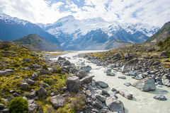 Tracking Mount Cook National Park Stock Photo