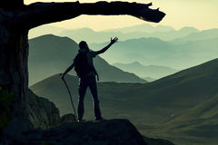 Tracking mountain summit Royalty Free Stock Images