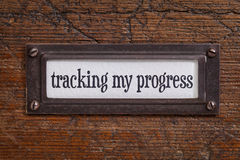 Tracking my progress - file cabinet label Stock Photos