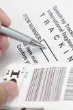 Tracking number. With barcode - concept for tracking items Stock Images