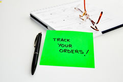 Tracking orders Stock Image