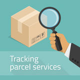 Tracking parcel services. Package tracking flat illustration. Tracking parcel services concept. Package status place tracking online order shipping business royalty free illustration