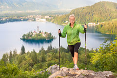 Tracking round Bled Lake in Julian Alps, Slovenia. Stock Image