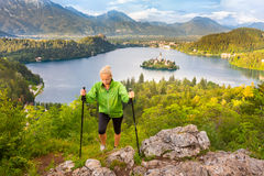 Tracking round Bled Lake in Julian Alps, Slovenia. Stock Photography