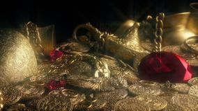 Large Red Diamond In Sparkling Treasure Pile. Tracking shot of a big pile of gold treasure with huge red diamond stock video footage