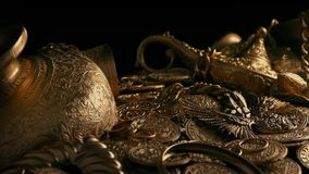 Passing Gold Treasure Pile. Tracking shot of a big pile of gold treasure stock footage