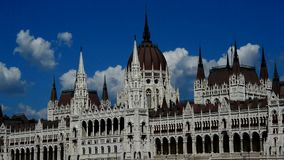 Tracking shot of Budapest gothic revival style parliament building. Taken during summer season from sightseeing river boat stock video footage