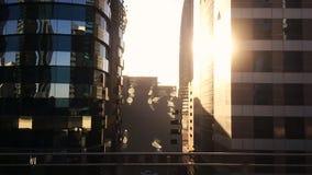 Tracking shot of modern city buildings, Dubai, United Arab Emirates stock video