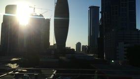 Tracking shot of modern city buildings, Dubai, United Arab Emirates stock video footage