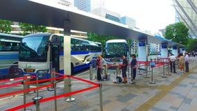 Tracking shot of Tokyo station Yaesu central bus terminal in Tokyo Japan. Tokyo, Japan - September 13, 2017 :tracking shot of Tokyo station Yaesu central bus stock video footage