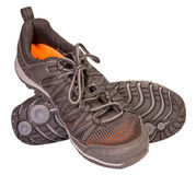 Tracking sporting black sneakers, breathable material, isolated Royalty Free Stock Images
