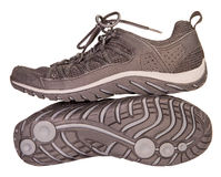 Tracking sporting black sneakers, breathable material, isolated Stock Photo