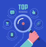Tracking Website Ranking. Concept illustration of tracking and analyzing website ranking, popularity growth, unique visitors, inbound links, number of followers Royalty Free Stock Photos