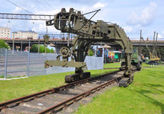 Tracklaying μηχανή PB-3M στο μουσείο της τεχνολογίας σιδηροδρόμων Baranovichi, Λευκορωσία Στοκ εικόνα με δικαίωμα ελεύθερης χρήσης