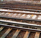 Tracks 1. This the view from a platform on Clapham train station Stock Images